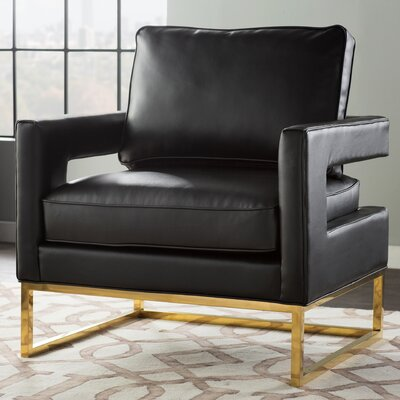Aloisio Genuine Leather Upholstery Armchair Upholstery: Black