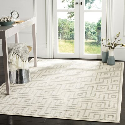 Apollina Light Gray/Cream Indoor/Outdoor Area Rug Rug Size: 53 x 77