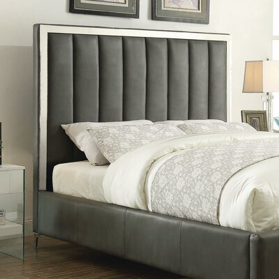 Brandeis Upholstered Panel Headboard with Slats Size: Queen