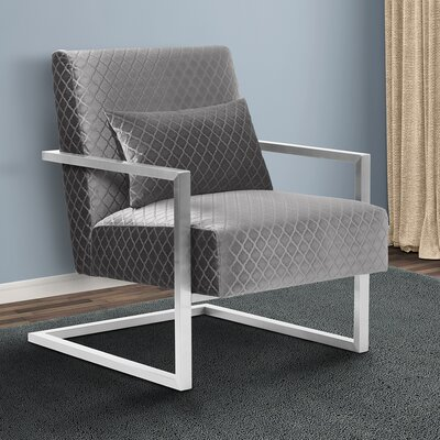 Ava Contemporary Armchair Upholstery: Gray