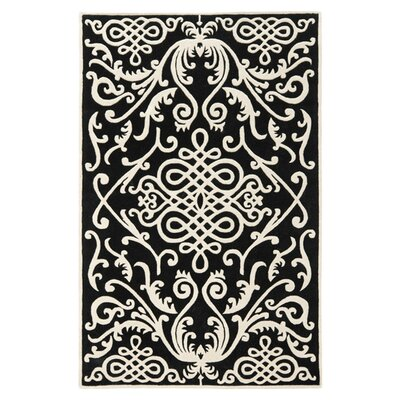 Thornbury Black / Ivory Rug Rug Size: 36 x 56