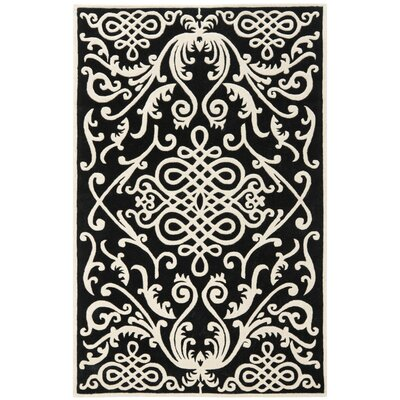 Thornbury Black / Ivory Rug Rug Size: 5 x 8