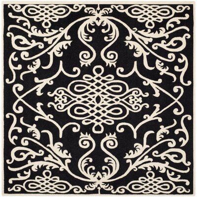 Thornbury Black / Ivory Rug Rug Size: Square 6
