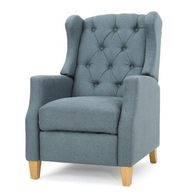 Cohen Tufted Manual Recliner Upholstery: Blue Gray