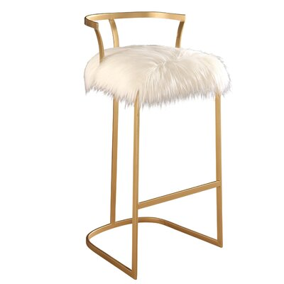 Charlita Faux Fur Bar Stool