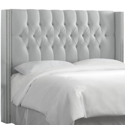 Fitzroy Diamond Tufted Upholstered Wingback Headboard Size: Full, Upholstery: Shantung Silver