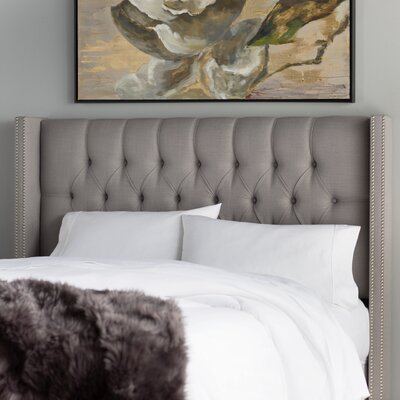 Socorro Upholstered Wingback Headboard Size: Queen, Upholstery: Grey