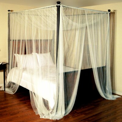 Harrelson 4-Post Bed Sheer Panel Canopy Net Color: Ecru