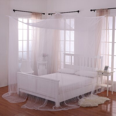 Harrelson 4-Post Bed Sheer Panel Canopy Net Color: White