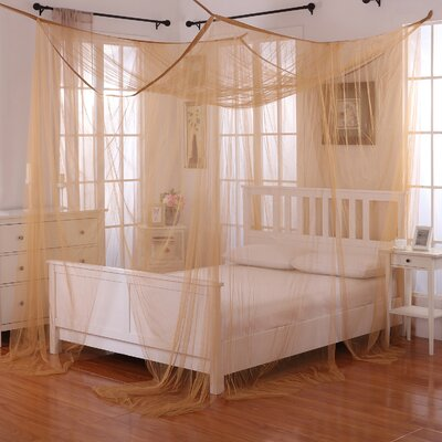 Harrelson 4-Post Bed Sheer Panel Canopy Net Color: Gold