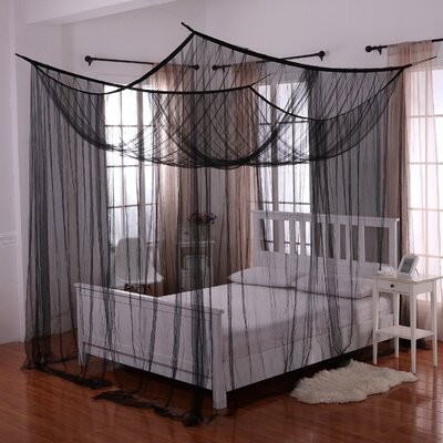 Harrelson 4-Post Bed Sheer Panel Canopy Net Color: Black
