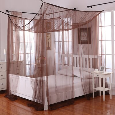 Harrelson 4-Post Bed Sheer Panel Canopy Net Color: Chocolate