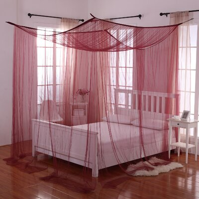 Harrelson 4-Post Bed Sheer Panel Canopy Net Color: Burgundy