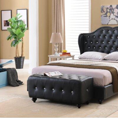Amelie Upholstered Platform Bed Size: Queen, Finish: Black