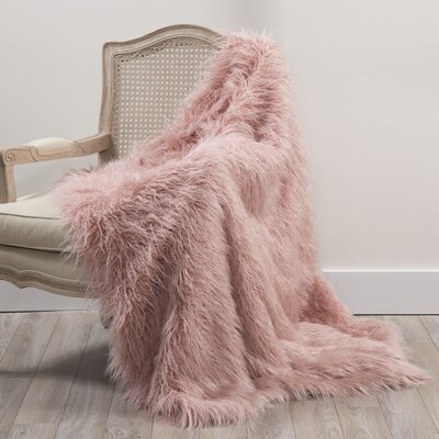 Barrington Faux Fur Throw Blanket Color: Pink, Size: 58