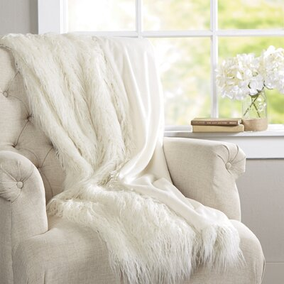 Cobbett Faux Fur Throw Blanket Color: Ivory, Size: 58 W x 60 L