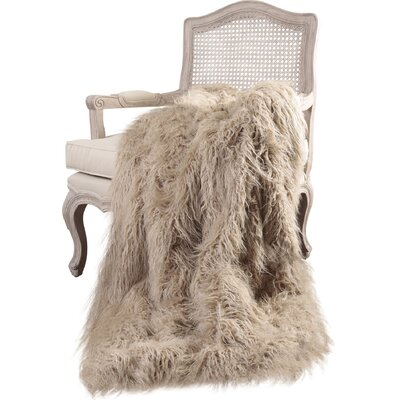Cobbett Faux Fur Throw Blanket Color: Taupe, Size: 58 W x 60 L