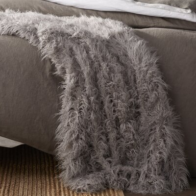 Cobbett Faux Fur Throw Blanket Color: Gray, Size: 58 W x 60 L