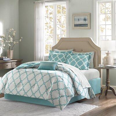Whitney Reversible Comforter Set Size: Twin, Color: Aqua