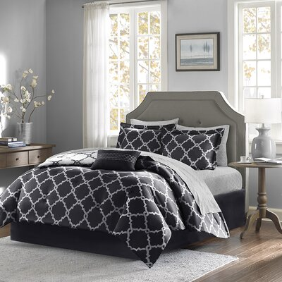 Whitney Reversible Comforter Set Size: Queen, Color: Black