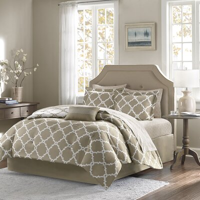Whitney Reversible Comforter Set Size: California King, Color: Taupe