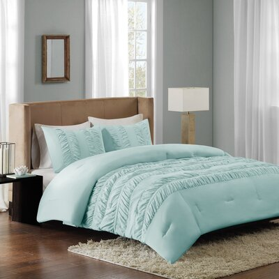 Rainier Comforter Set Size: King, Color: Aqua