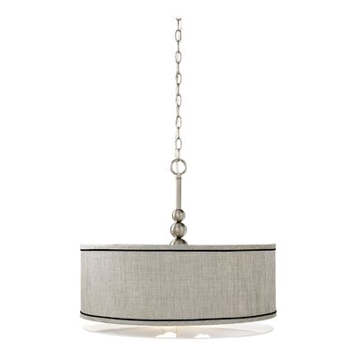 Kimmel 3-Light Drum Pendant Finish / Shade: Brushed Steel / Silver Metallic Shade
