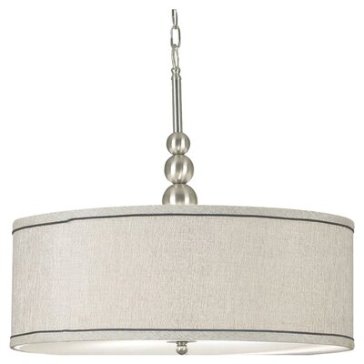 Annuziata 3-Light Drum Pendant Finish / Shade: Brushed Steel / Silver Metallic Shade