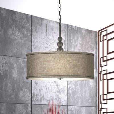 Annuziata 3-Light LED Drum Pendant Finish / Shade: Oil Rubbed Bronze / Bronze Gold Metallic Shade