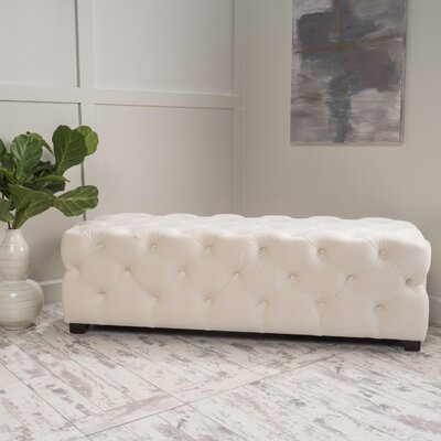 Bortz Tufted Velvet Rectangular Ottoman Finish: Ivory