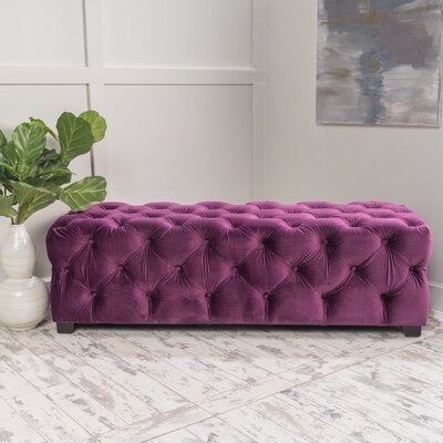 Bortz Tufted Velvet Rectangular Ottoman Finish: Fuchsia
