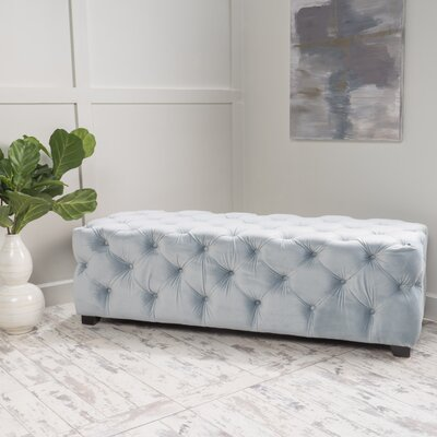 Bortz Tufted Velvet Rectangular Ottoman Color: Light Gray