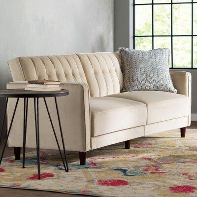 Hammondale Pin Tufted Convertible Sofa Finish: Tan Velvet