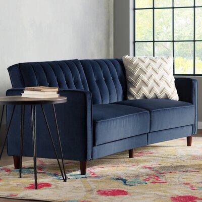 Hammondale Pin Tufted Convertible Sofa Finish: Blue Velvet