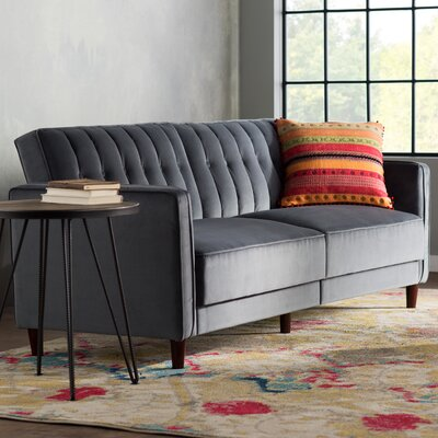 Clara Pin Tufted Convertible Sofa Finish: Gray Velvet