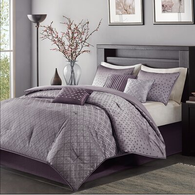 Boothby 7 Piece Comforter Set Size: California King, Color: Purple
