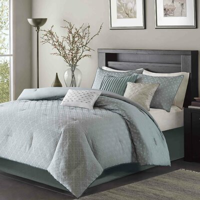 Boothby 7 Piece Comforter Set Size: Queen, Color: Blue