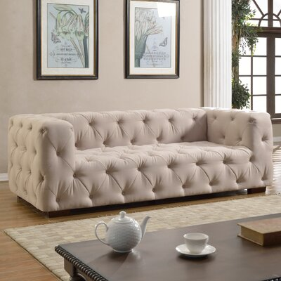 Abadie Tufted Large Chesterfield Sofa Upholstery: Beige