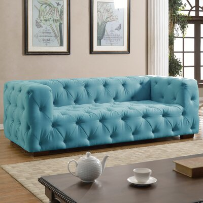 Abadie Tufted Large Chesterfield Sofa Upholstery: Light Blue