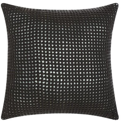 Skyla Leather Throw Pillow Color: Black/Silver