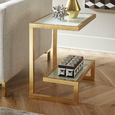 Mira End Table Finish: Gold/White
