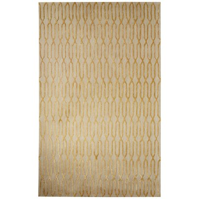 Adelle Hand-Tufted Tan/Yellow Area Rug Rug Size: 5 x 8