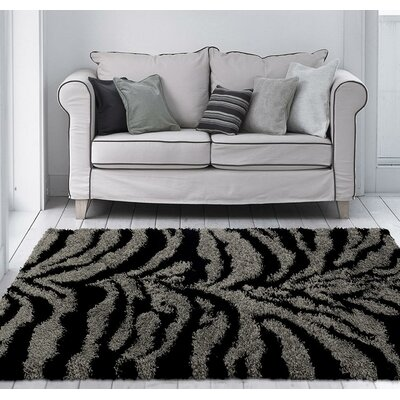 Creissant Gray/Black Indoor/Outdoor Area Rug Rug Size: 5 x 7