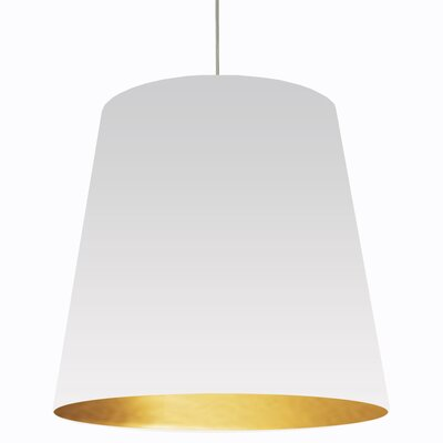 Jenkins 1-Light Mini Drum Pendant Shade Color: White on Gold, Size: 32 H x 32 W x 26 D