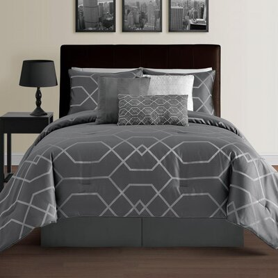Zena 7 Piece Comforter Set Color: Gray, Size: King