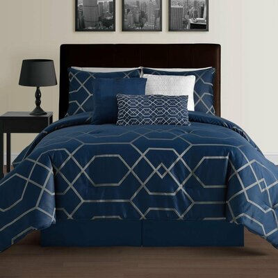 Chambord 7 Piece Comforter Set Color: Blue, Size: Queen