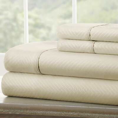 Dollard Double-Brushed Chevron Sheet Set Color: Cream, Size: Twin