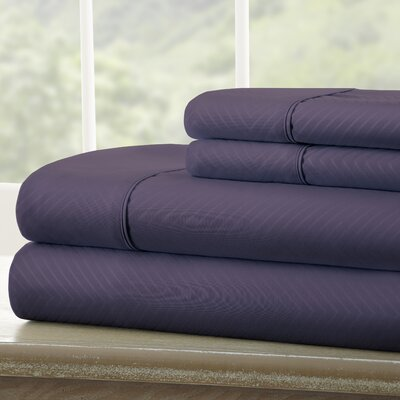 Dollard Double-Brushed Chevron Sheet Set Color: Purple, Size: Twin