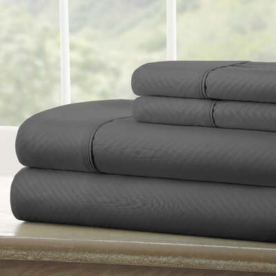 Dollard Double-Brushed Chevron Sheet Set Color: Gray, Size: Queen
