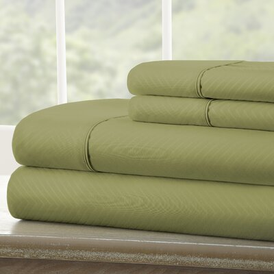 Dollard Double-Brushed Chevron Sheet Set Color: Sage, Size: Queen